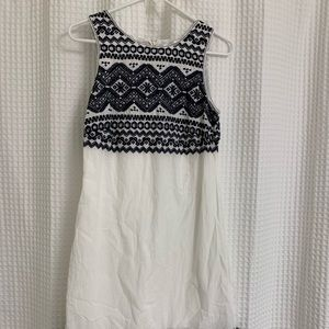 Navy and white patterned dress